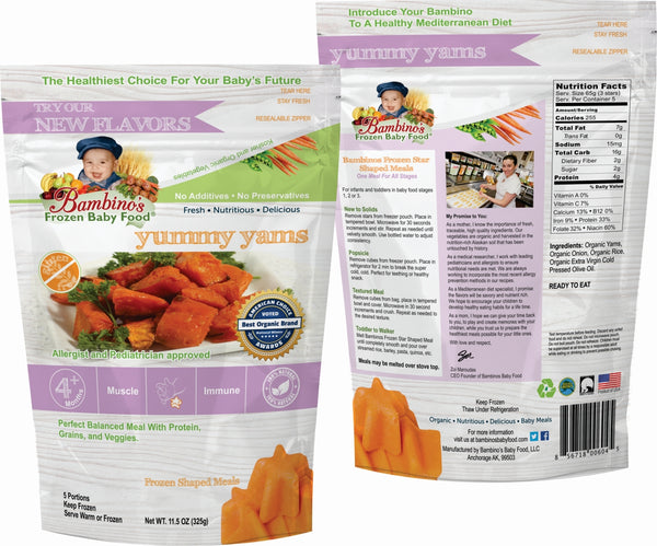 bambinos frozen baby food yummy yams frozen shaped meals best organic Alaska Alaskan pure wholesome meals for babies front and back of package