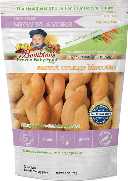 Carrot Orange Biscotto, Healthy delicious organic Baby cookies. Best natural teething and soother. Bambinos Baby Food National delivery service and subscription service. Best Organic fresh baby food