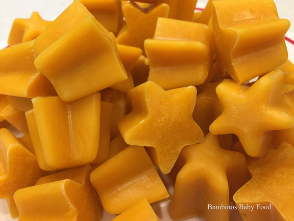 Googly Carrots Frozen Organic Baby Food Bambinos Baby Food, star shaped baby food great snacks or natural teething remedy.