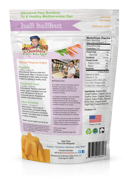 Hal Halibut Frozen Baby Food Organic Natural Omegas for infant and toddlers, snacks, popsicles, teething healthy delicious