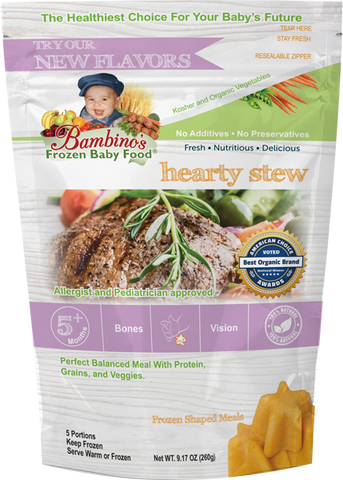 Hearty Stew - Bambinos Frozen Baby Food. Beautiful blend of filet mignon, veggies and grains. Organic all natural Alaskan farmed ingredients dedicated to infant development. Trusted by Allergist, pediatricians and parents. Just like homemade and much more. National natural frozen baby food delivery and subscription service. Best Baby Food. 24 meals for $76.96.