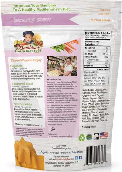 Hearty Stew Organic Frozen baby food, Best organic healthy meals for infants just like homemade