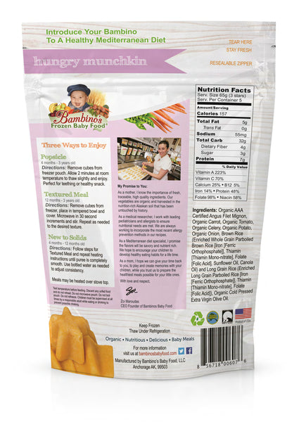 bambinos frozen baby food hungry munchkin frozen shaped meals six 6 pack what is in the order back of the bag