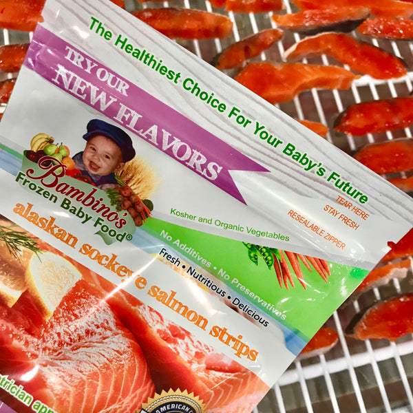 Alaskan Sockeye Salmon Strip for teething baby toddler snack finger food omega rich best product Bambinos baby food Zoi Maroudas healthy food product natural non gmo fresh home delivery