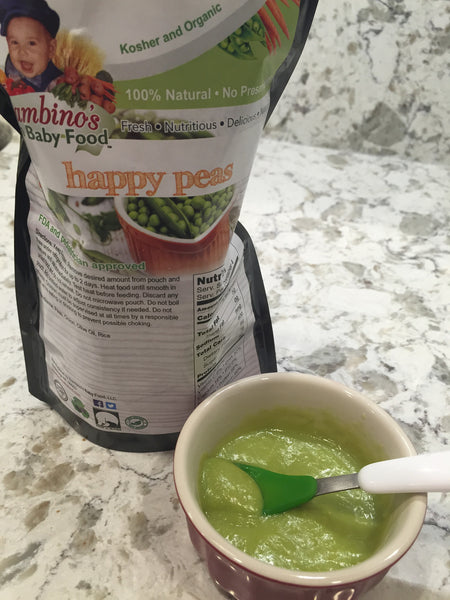 Happy Peas, beautiful smooth baby food, Smooth rich organic peas, organic extra virgin olive oil, grains perfect delicious blend. Bambinos Baby Food Non GMO national baby food service. Each order come with 24 serving. Best Organic Frozen Baby Food