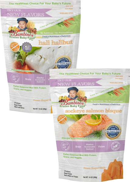 Best Salmon Baby food omega rich Bambinos Baby Food Frozen Star Shaped Meals - Omega Pack 6 Packages 24 Meals