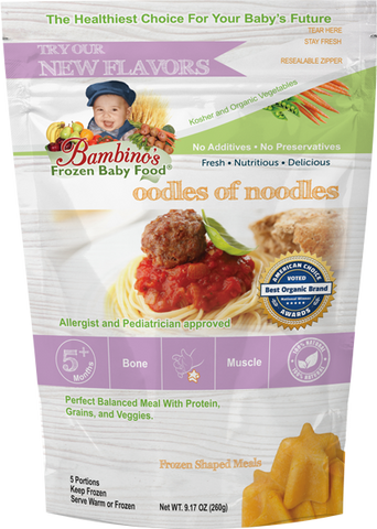 Oodles of Noodles - Organic frozen Non GMO Bambinos Baby Food. Baby food national subscription service. 24 meals great flavor easy to prepare trusted by allergists and pediatricians. Best Organic Baby food and Baby teething popsicles. WWW.BambinosBabyFood.com