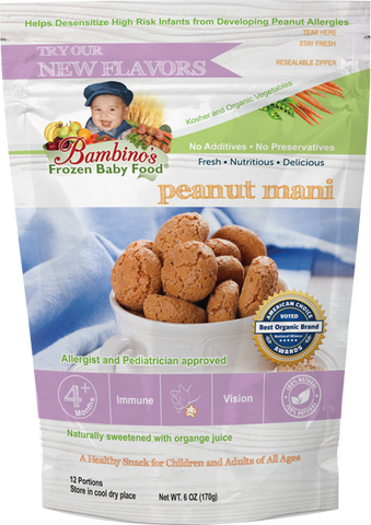 Bambinos Baby Food Frozen Star Shaped Meals - Peanut Mani peanut allergy prevention allergic reaction wean off leap study