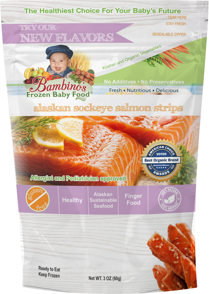 Alaskan Sockeye Salmon Strip for teething baby toddler snack finger food omega rich best product Bambinos baby food Zoi Maroudas healthy food product natural non gmo