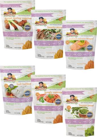 Bambinos Baby Food Frozen Star Shaped Meals - Surprise Variety Pack 6 Packages 24 Meals