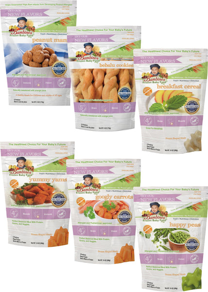 Bambinos Baby Food Frozen Star Shaped Meals - Veggies, Cookies and Cereal Variety Pack 6 Packages 24 Meals