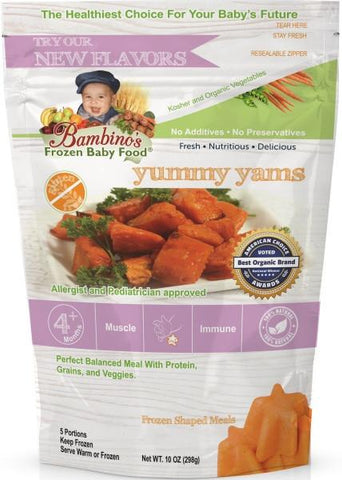bambinos frozen baby food yummy yams frozen shaped meals best organic Alaska Alaskan pure wholesome meals for babies