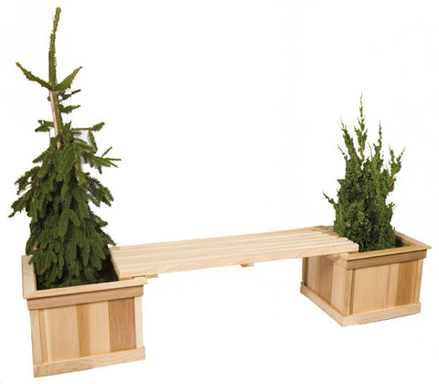 Two Medium Cedar Planters With 4' Bench