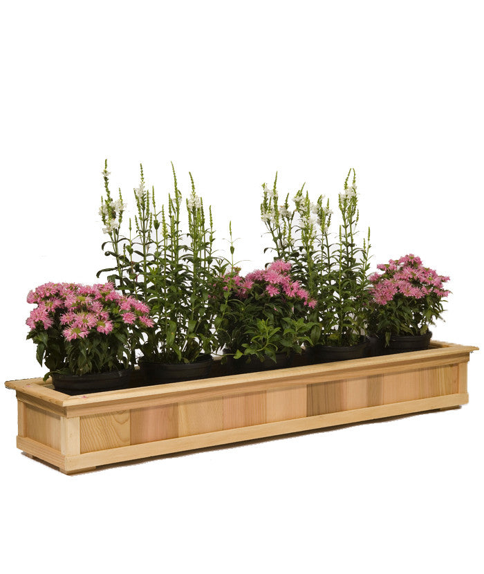 "Wider 28"" Top Rail Cedar Planter"