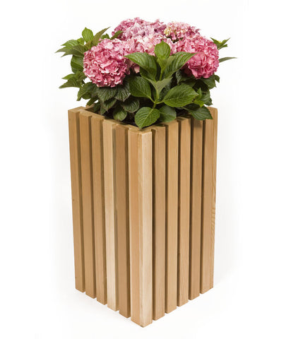 Small Vertical Slotted Cedar Planter