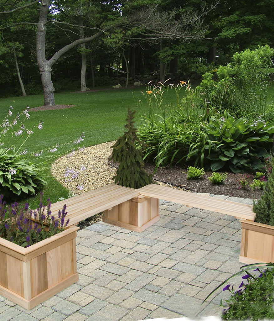 Three Medium Cedar Planters With Two 4' Benches