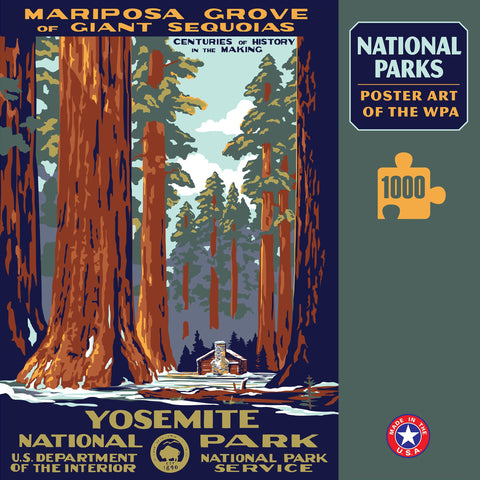 Yosemite National Park Poster Art of The WPA 1000 Jigzaw Puzzle (Printed in USA) - Ziga Media