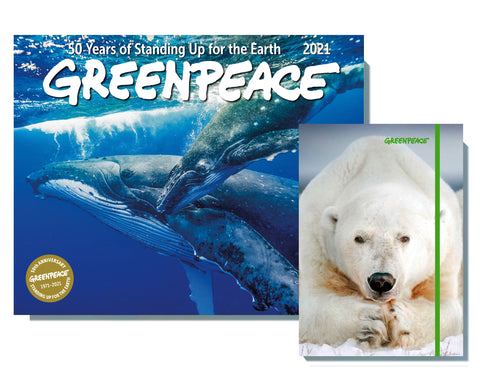 2021 Greenpeace Wall Calendar and Greenpeace Polar Bear Journal Sale-Priced BUNDLE $23.99 (regular retail $28.98)
