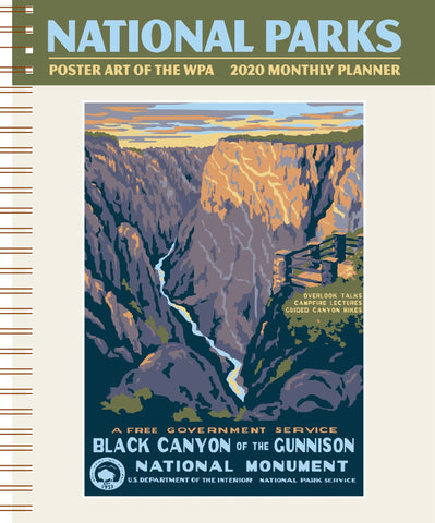 "National Parks Poster Art of the WPA Softcover Monthly Planner 2020 January-December Schedule Journal 7.5"" x 9.75"" Spiral"