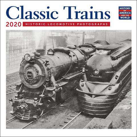 "Classic Trains Mini Wall Calendar 2020 Monthly January-December 7"" x 7"""