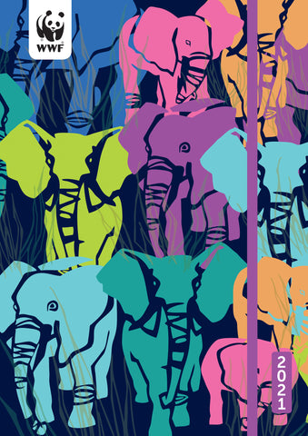 "WWF Elephants Weekly Academic Planner 2021, 5.75"" x 8.25"" Flexi Cover"