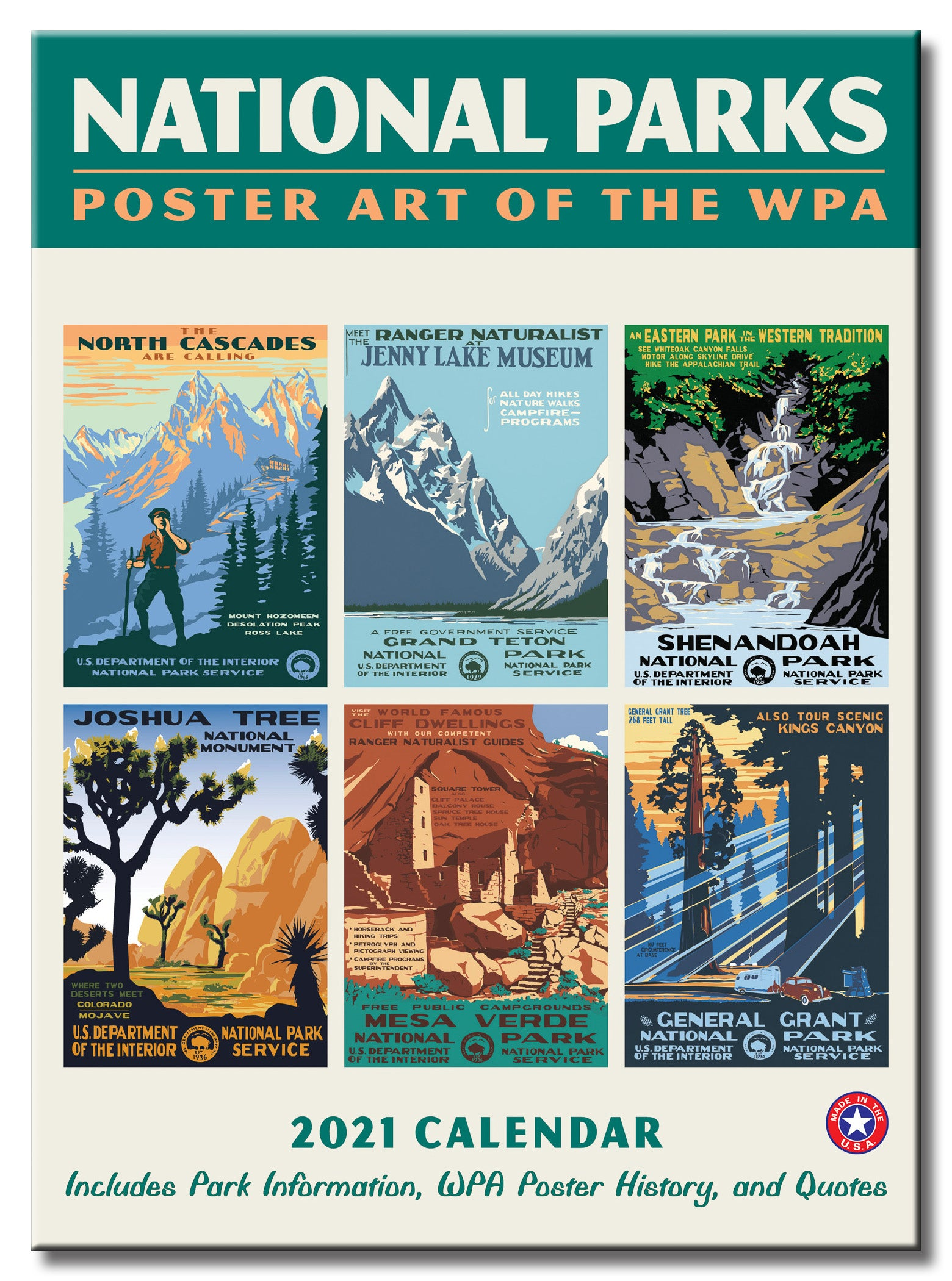 National Parks GRID WPA Wall Calendar 2021, Monthly January