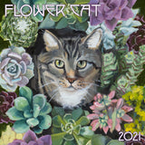 Flower Cat Wall Calendar 2021, Monthly January-December 12'' x 12""