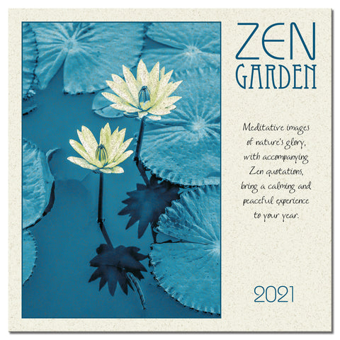 Zen Garden Wall Calendar 2021, Monthly January-December 12'' x 12""