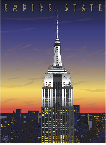 Empire State Print, White Sunset - Ziga Media