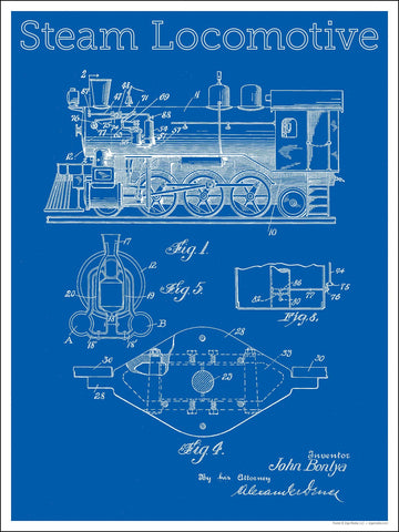 Steam Locomotive Patent Blueprint 18 x 24 inch poster