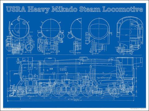 Heavy Mikado Steam Locomotive Blueprint 24 x 18-inch poster