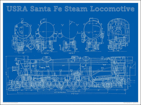 Heavy Santa Fe Steam Locomotive Blueprint 24 x 18-inch poster - Ziga Media