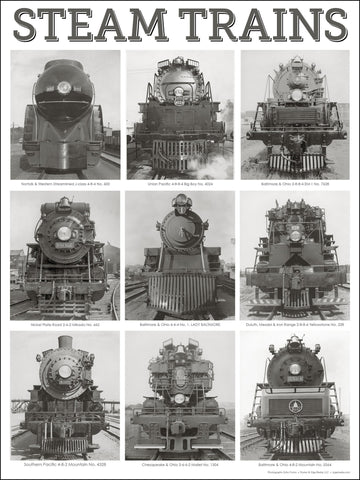 Nine Steam Locomotives 18 x 24 inch poster - Ziga Media