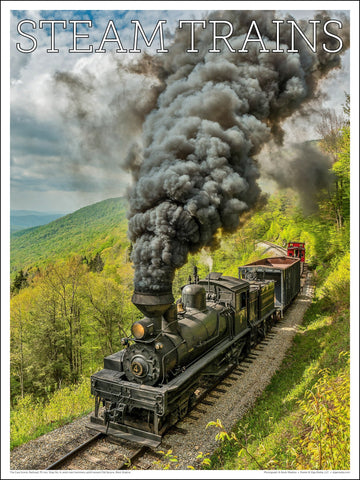 Cass Scenic Railroad, Shay No. 4 Steam Trains 18 x 24 inch poster - Ziga Media