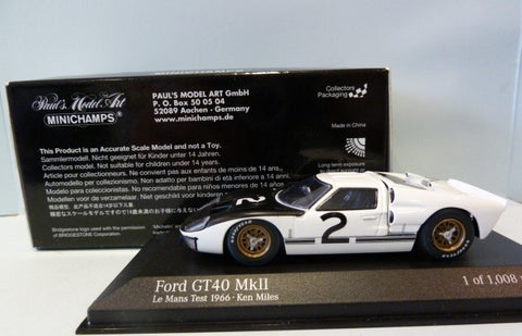 Minichamps Ford GT 40 MKII Lemans Test 1966 Black/White 1/43