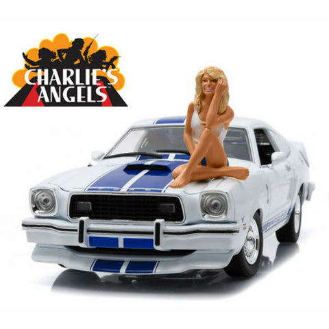 Greenlight Charlie's Angels 1976 Ford Mustang Cobra II W-Farrah Fawcett Figure 1:18 - Hobbytoys - 1