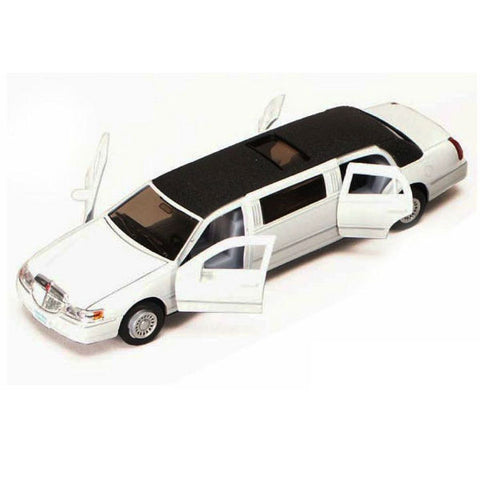 Kinsmart 1999 Lincoln Town Car Stretch Limousine 1/38 White