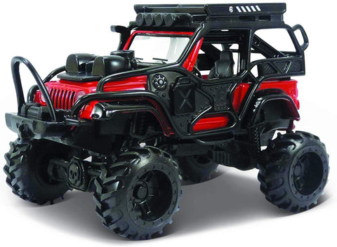 Maisto Desert Rebels 2003 Jeep Wrangler Rubicon Red Black,  pull Back Motorized Car