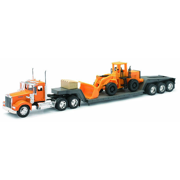 New-Ray Kenworth W900 Lowboy with Construction Tractor