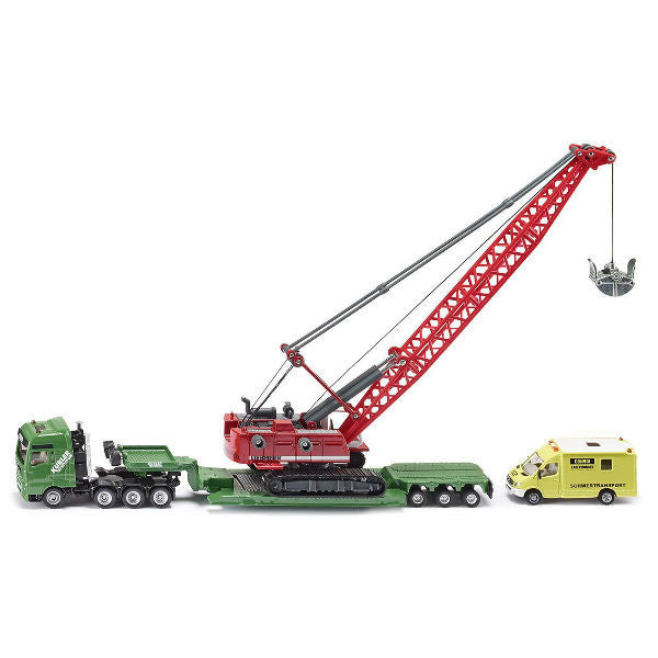 Siku Heavy Haulage Transporter With Excavator And Service Vehicle - Hobbytoys