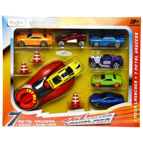 Maisto Metal Kruzerz 7 Car Race Launcher Set - Hobbytoys