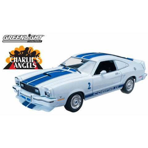 Greenlight Charlie's Angels 1976 Ford Mustang Cobra II W-Farrah Fawcett Figure 1:18 - Hobbytoys - 2