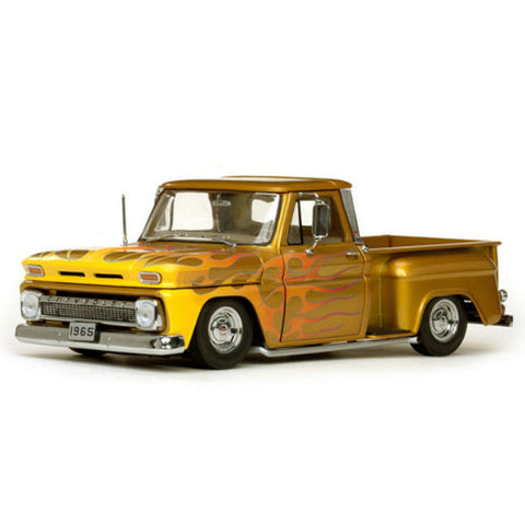 Sun Star 1965 Chevrolet C-10 Stepside Pickup Lowrider Metallic Gold 1/18 - Hobbytoys - 1