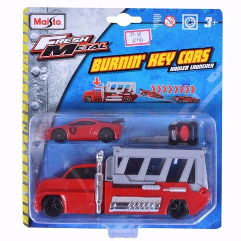 Maisto Fresh Metal Burnin' Key Cars Hauler Launcher With Street Speeder