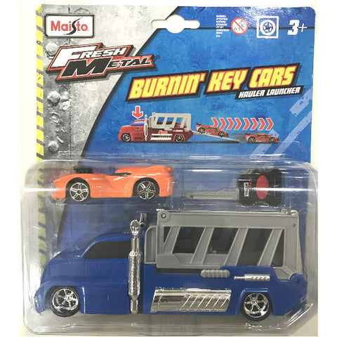 Maisto Fresh Metal Burnin' Key Cars Hauler Launcher With Nite Crawler - Hobbytoys