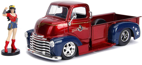 Jada 1952 CHEVY COE Pickup with Wonder Woman Figure 1/24