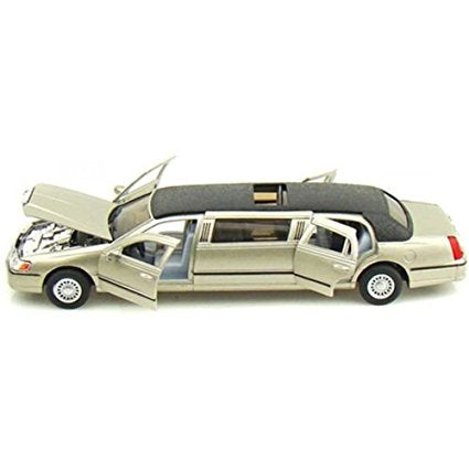 Kinsmart 1999 Lincoln Town Car Stretch Limousine 1/38 Golden