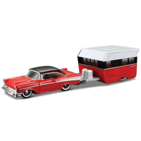 Maisto Tow & Go 1957 Chevrolet Bel Air with Alameda Trailer 1/64