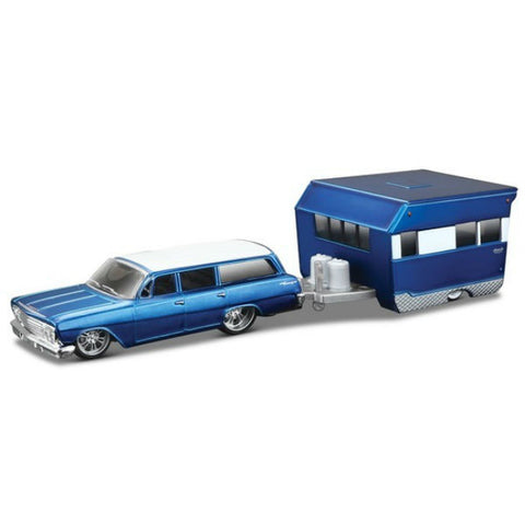 Maisto Tow & Go 1962 Chevrolet Biscayne Wagon with Alameda Trailer 1/64