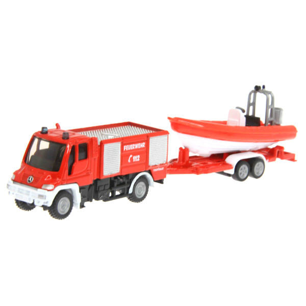 Siku Unimog Fire Engine With Boat - Hobbytoys - 1